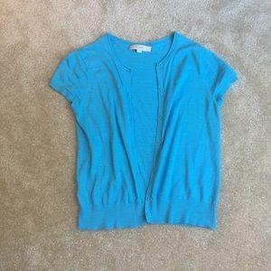 Ann Taylor Loft Blue short sleeve cardigan